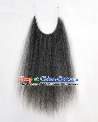 Chinese Ancient Opera Old Men Grizzled Long Wig Beard, Traditional Chinese Beijing Opera Props Laosheng-role Mustache False Beard