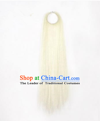Chinese Ancient Opera Old Men White Long Wig Beard, Traditional Chinese Beijing Opera Props Laosheng-role Mustache Pengtoucun False Beard