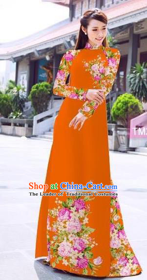 Traditional Top Grade Asian Vietnamese Ha Festival Printing Flowers Orange Ao Dai Dress, Vietnam Women National Jing Nationality Princess Cheongsam Bride Costumes