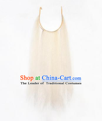Chinese Ancient Opera Old Men White Long Wig Beard, Traditional Chinese Beijing Opera Props Laosheng-role Mustache False Beard