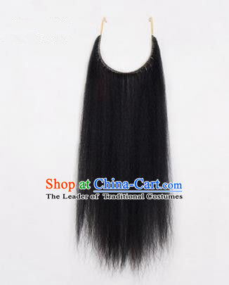 Chinese Ancient Opera Old Men Black Long Wig Beard, Traditional Chinese Beijing Opera Props False Beard Laosheng-role Mustache