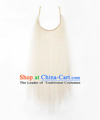 Chinese Ancient Opera Old Men White Long Wig Beard, Traditional Chinese Beijing Opera Props False Beard Laosheng-role Mustache