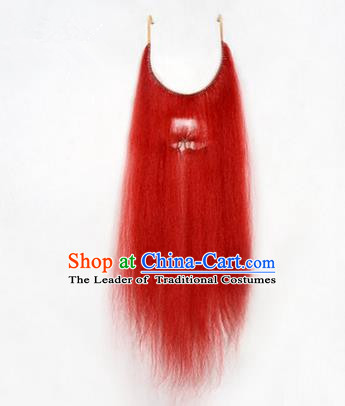 Chinese Ancient Opera Old Men Red Long Wig Beard Whiskers, Traditional Chinese Beijing Opera Props False Beard Laosheng-role Mustache