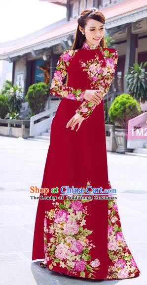 Traditional Top Grade Asian Vietnamese Ha Festival Printing Flowers Wine Red Ao Dai Dress, Vietnam Women National Jing Nationality Princess Cheongsam Bride Costumes