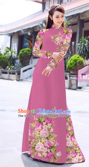 Traditional Top Grade Asian Vietnamese Ha Festival Printing Flowers Pinkish Purple Ao Dai Dress, Vietnam Women National Jing Nationality Princess Cheongsam Bride Costumes
