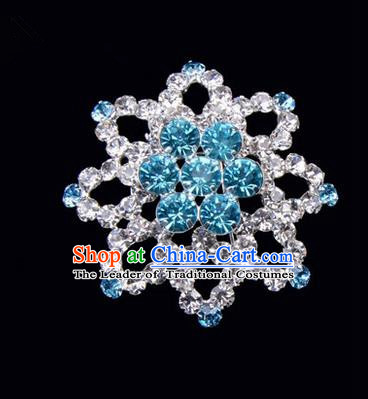 Chinese Ancient Peking Opera Jewelery Accessories, Traditional Chinese Beijing Opera Props Octagon Brooch Ornaments Hua Tan Blue Rhinestone Breastpin