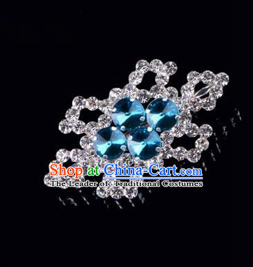 Chinese Ancient Peking Opera Jewelery Accessories, Traditional Chinese Beijing Opera Props Hexagonal Brooch Ornaments Hua Tan Blue Rhinestone Breastpin