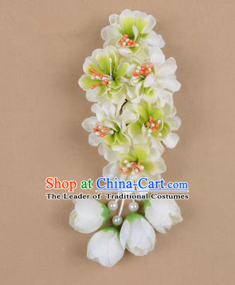 Chinese Ancient Peking Opera White Wisteria Flowers Hair Accessories, Traditional Chinese Beijing Opera Props Head Ornaments Hua Tan Headwear Hairpins
