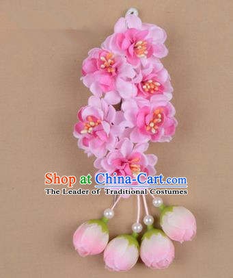 Chinese Ancient Peking Opera Pink Wisteria Flowers Hair Accessories, Traditional Chinese Beijing Opera Props Head Ornaments Hua Tan Headwear Hairpins