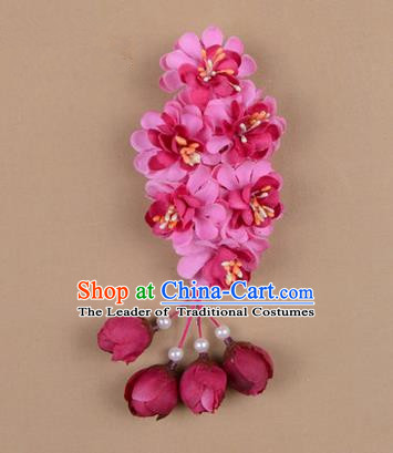 Chinese Ancient Peking Opera Rosy Wisteria Flowers Hair Accessories, Traditional Chinese Beijing Opera Props Head Ornaments Hua Tan Headwear Hairpins