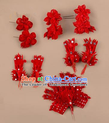 Chinese Ancient Peking Opera Phoenix Hair Accessories, Traditional Chinese Beijing Opera Props Head Ornaments Hua Tan Flocking Headwear Hairpins Complete Set