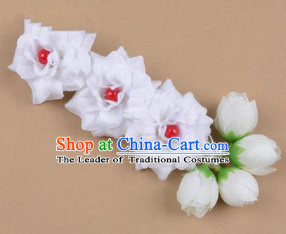 Chinese Ancient Peking Opera White Flowers Hair Accessories, Traditional Chinese Beijing Opera Props Head Ornaments Hua Tan Flocking Headwear Hairpins