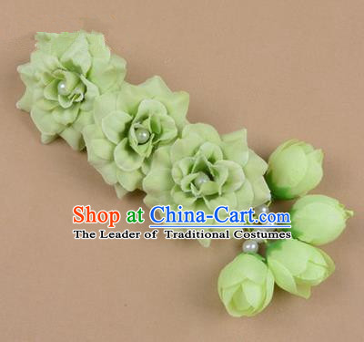 Chinese Ancient Peking Opera Green Flowers Hair Accessories, Traditional Chinese Beijing Opera Props Head Ornaments Hua Tan Flocking Headwear Hairpins