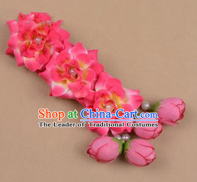 Chinese Ancient Peking Opera Rosy Flowers Hair Accessories, Traditional Chinese Beijing Opera Props Head Ornaments Hua Tan Flocking Headwear Hairpins
