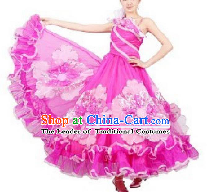 Top Grade Compere Professional Compere Costume, Ballroom Dance Dress Modern Opening Dance Big Swing Pink Dress for Women