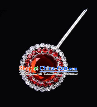 Chinese Ancient Peking Opera Pink Flowers Hair Accessories Headwear, Traditional Chinese Beijing Opera Head Ornaments Hua Tan Double Ring Red Crystal Bulb Hairpins