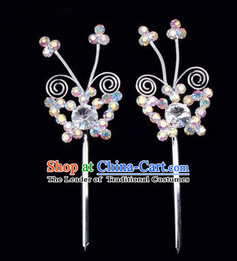 Chinese Ancient Peking Opera Pink Flowers Hair Accessories Headwear, Traditional Chinese Beijing Opera Head Ornaments Hua Tan Colorful White Butterfly Crystal Hairpins