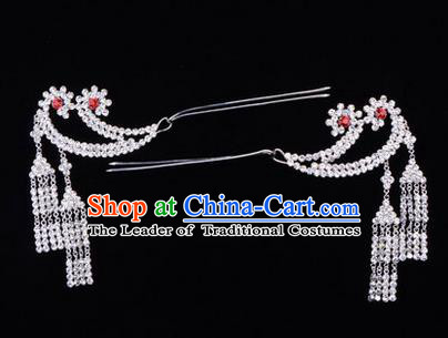 Chinese Ancient Peking Opera Hair Accessories Young Lady Headwear, Traditional Chinese Beijing Opera Head Ornaments Hua Tan Crystal Hairpins
