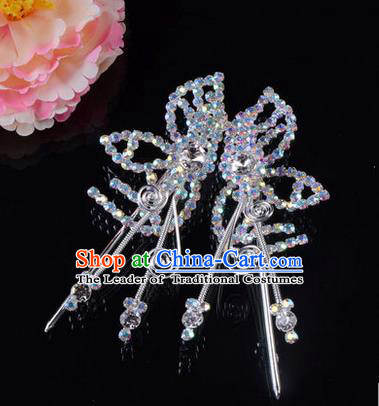 Chinese Ancient Peking Opera Hair Accessories Young Lady Headwear, Traditional Chinese Beijing Opera Head Ornaments Hua Tan Butterfly White Crystal Hairpins
