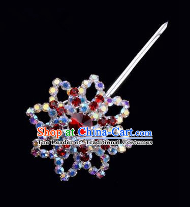 Chinese Ancient Peking Opera Pink Flowers Hair Accessories Headwear, Traditional Chinese Beijing Opera Head Ornaments Hua Tan Colorful Red Octagon Crystal Bulb Hairpins