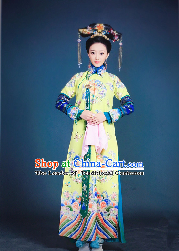 Traditional Ancient Chinese Imperial Empress Costume, Chinese Qing Dynasty Manchu Lady Dress, Chinese Mandarin Robes Queen Embroidered Clothing for Women