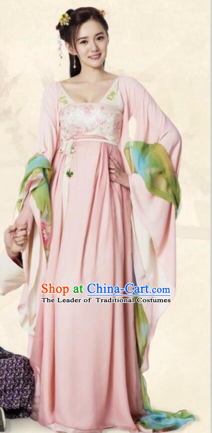 Traditional Ancient Chinese Imperial Princess Costume and Handmade Headpiece Complete Set, Chinese Tang Dynasty Young Lady Dress Embroidered Clothing for Women