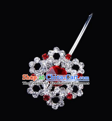 Chinese Ancient Peking Opera Pink Flowers Hair Accessories Headwear, Traditional Chinese Beijing Opera Head Ornaments Hua Tan Red Hexagonal Crystal Bulb Hairpins