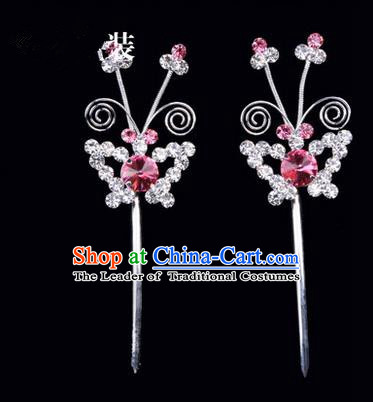 Chinese Ancient Peking Opera Pink Flowers Hair Accessories Headwear, Traditional Chinese Beijing Opera Head Ornaments Hua Tan Pink Butterfly Crystal Hairpins