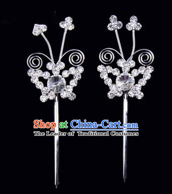 Chinese Ancient Peking Opera Pink Flowers Hair Accessories Headwear, Traditional Chinese Beijing Opera Head Ornaments Hua Tan White Butterfly Crystal Hairpins