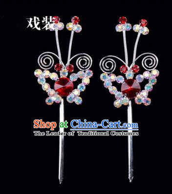 Chinese Ancient Peking Opera Pink Flowers Hair Accessories Headwear, Traditional Chinese Beijing Opera Head Ornaments Hua Tan Colorful Red Butterfly Crystal Hairpins