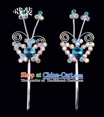 Chinese Ancient Peking Opera Pink Flowers Hair Accessories Headwear, Traditional Chinese Beijing Opera Head Ornaments Hua Tan Colorful Blue Butterfly Crystal Hairpins