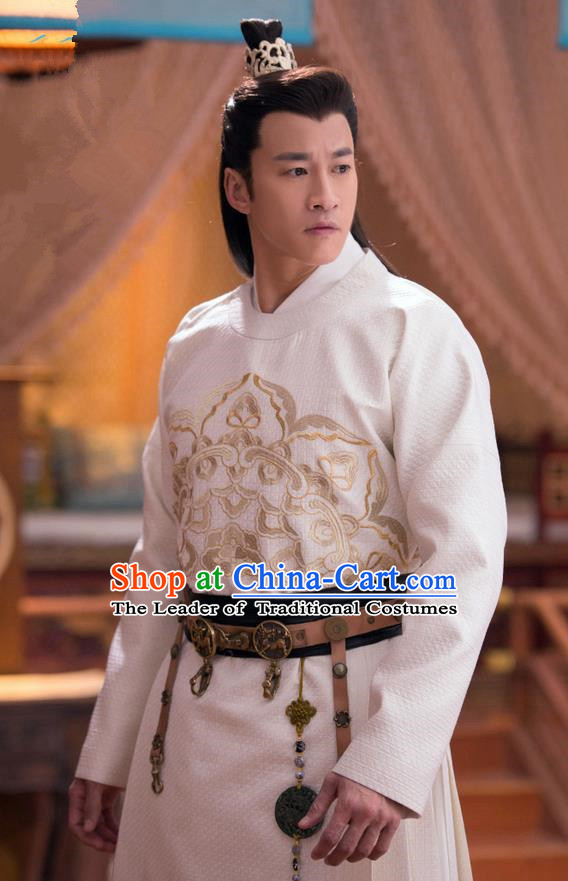 Traditional Chinese Song Dynasty Prince Dandies Costume and Handmade Headpiece Complete Set, China Ancient Nobility Childe Clothing for Men