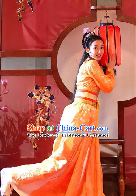 Chinese Teleplay Flower Shabana Flyings Sky Young Lady Dress, Traditional Chinese Ancient Song Dynasty Aristocratic Miss Costume and Headpiece Complete Set for Women
