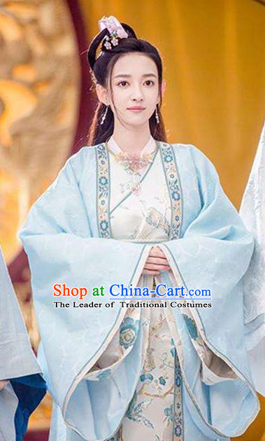 Chinese Teleplay Flower Shabana Flyings Sky Imperial Princess Dress, Traditional Chinese Ancient Song Dynasty Aristocratic Miss Costume and Headpiece Complete Set for Women