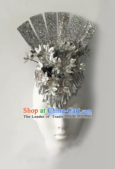 Traditional Chinese Miao Nationality Hair Accessories, Hmong Female Folk Dance Forehead Ornament Headwear for Women