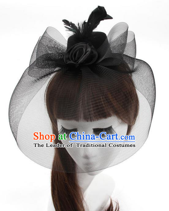 Top Modern Dance Hair Accessories, Female Black Veil Top Hat Ornament Headband for Women