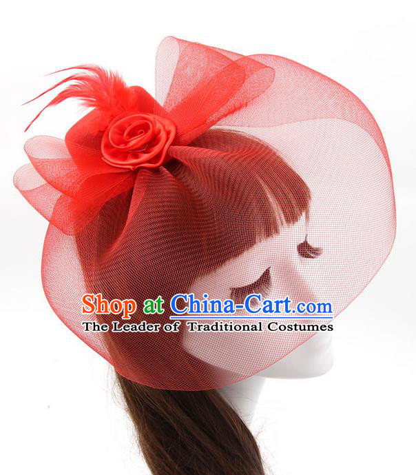 Top Modern Dance Hair Accessories, Female Red Veil Top Hat Ornament Headband for Women