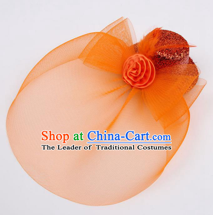 Top Modern Dance Hair Accessories, Female Orange Veil Top Hat Ornament Headband for Women