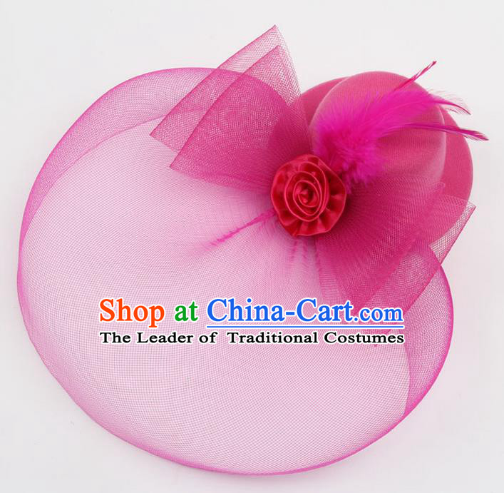 Top Modern Dance Hair Accessories, Female Rose Veil Top Hat Ornament Headband for Women