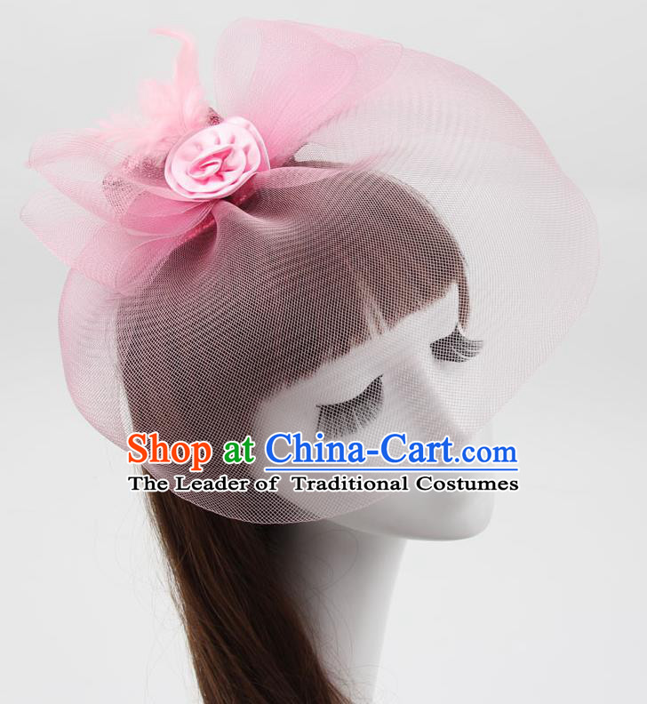 Top Modern Dance Hair Accessories, Female Pink Veil Top Hat Ornament Headband for Women