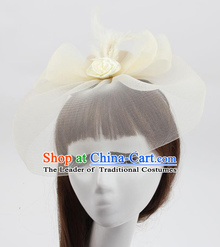 Top Modern Dance Hair Accessories, Female Beige Veil Top Hat Ornament Headband for Women