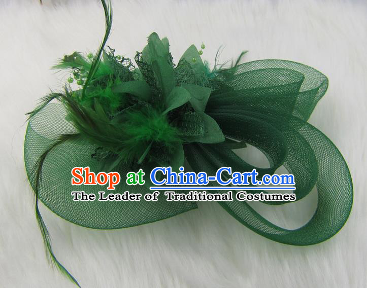 Top Modern Dance Hair Accessories Hair Clasp, Female Green Feather Veil Ornament Headband for Women