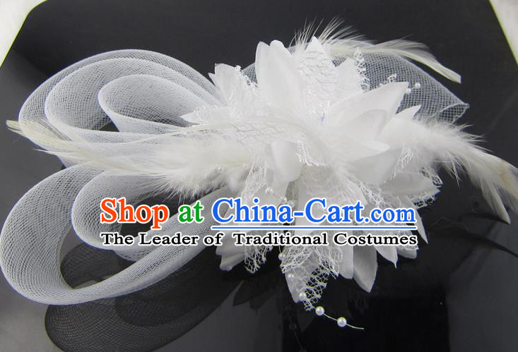 Top Modern Dance Hair Accessories Hair Clasp, Female White Feather Veil Ornament Headband for Women