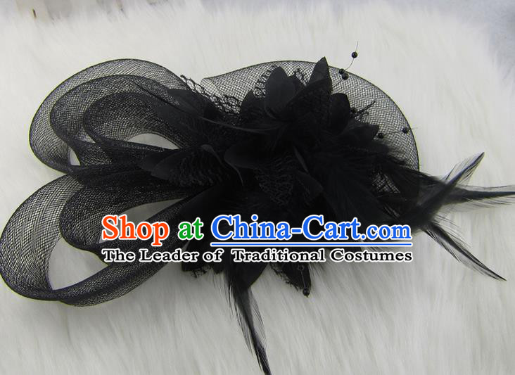 Top Modern Dance Hair Accessories Hair Clasp, Female Black Feather Veil Ornament Headband for Women