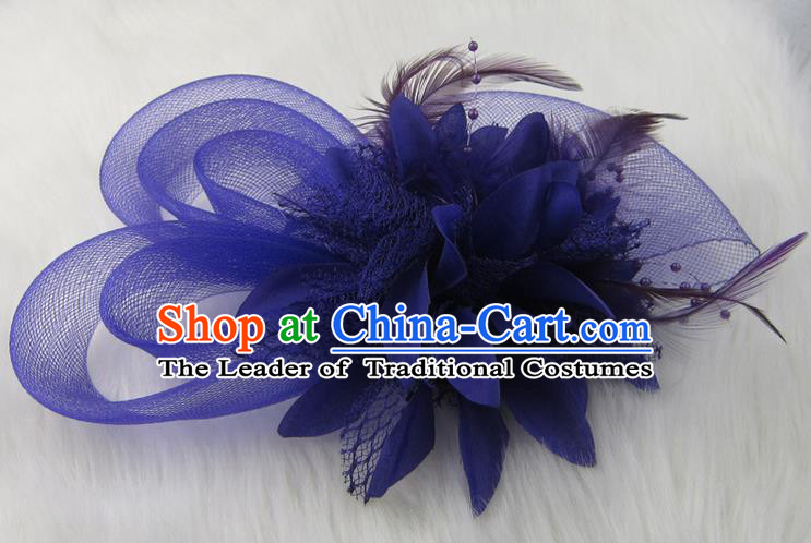 Top Modern Dance Hair Accessories Hair Clasp, Female Purple Feather Veil Ornament Headband for Women