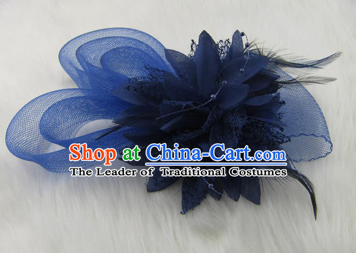 Top Modern Dance Hair Accessories Hair Clasp, Female Blue Feather Veil Ornament Headband for Women