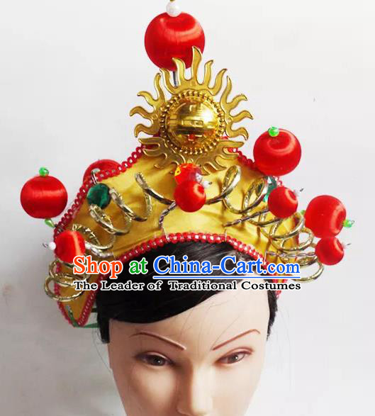 Traditional Chinese Peking Opera Headwear Waist Drum Hair Accessories, Chinese Folk Dance Golden Hat for Women
