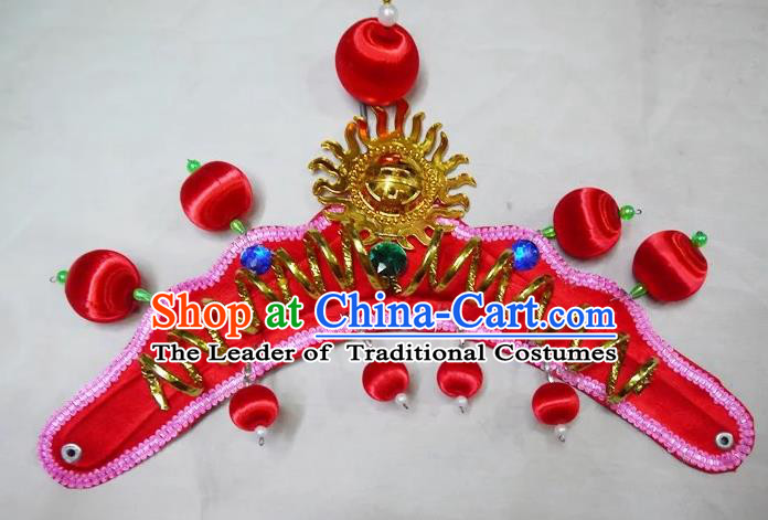 Traditional Chinese Peking Opera Headwear Waist Drum Hair Accessories, Chinese Folk Dance Red Hat for Women