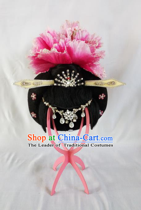 Traditional Chinese Peking Opera Imperial Concubine Headgear Wigs and Hair Accessories Complete Set, China Tang Dynasty Palace Lady High-grade Headwear for Women