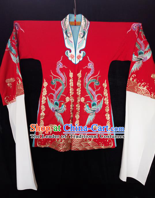 Traditional Chinese Peking Opera Costumes Wedding Bride Blouse, China Beijing Opera High-grade Silk Embroidered Phoenix Wearing for Women